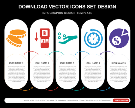 5 vector icons such as Coin, Atm, Get money, Rewind time, Pie chart for infographic, layout, annual report, pixel perfect icon