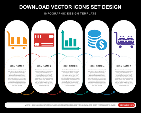 5 vector icons such as Cart, Cit card, Graph, Coins, Delivery cart for infographic, layout, annual report, pixel perfect icon