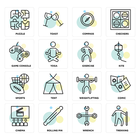 Set Of 16 icons such as Trekking, Wrench, Rolling pin, Cinema, Comic, Puzzle, Game console, Sports, Exercise on transparent background, pixel perfect