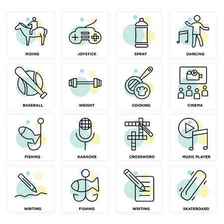 Set Of 16 icons such as Skateboard, Writing, Fishing, Music player, Riding, Baseball, Cooking on transparent background, pixel perfect