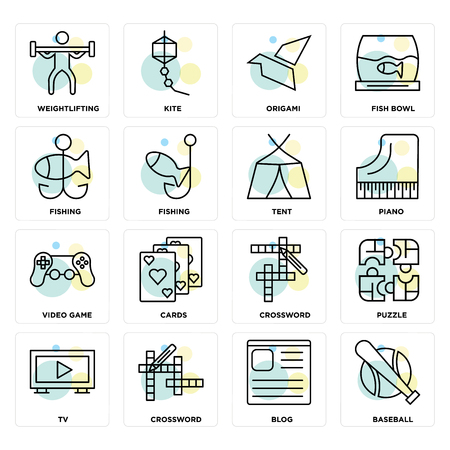 Set Of 16 icons such as Baseball, Blog, Crossword, Tv, Puzzle, Weightlifting, Fishing, Video game, Tent on transparent background, pixel perfect Vectores