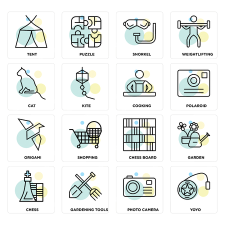 Set Of 16 icons such as Yoyo, Photo camera, Gardening tools, Chess, Garden, Tent, Cat, Origami, Cooking on transparent background, pixel perfect