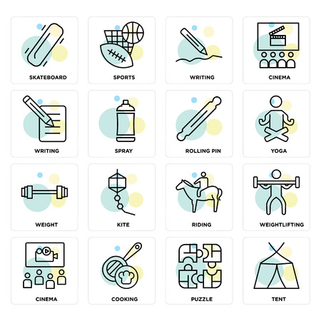 Set Of 16 icons such as Tent, Puzzle, Cooking, Cinema, Weightlifting, Skateboard, Writing, Weight, Rolling pin on transparent background, pixel perfect