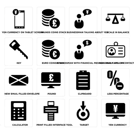 Set Of 16 simple editable icons such as Yen currency, Target, currency on tablet screen, Calculator, Less percentage, Clipboard, Pound, Pounds coins stack on transparent background, pixel perfect Illustration