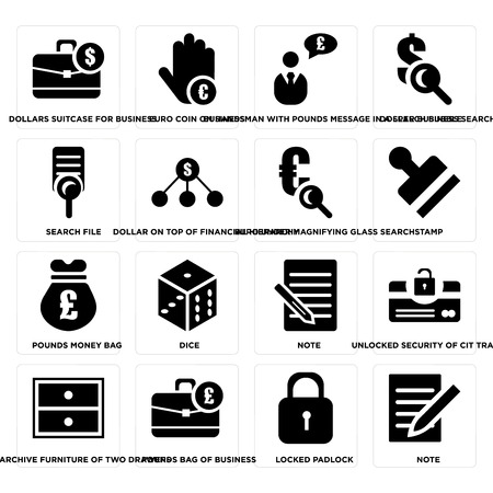 Set Of 16 simple editable icons such as Note, Locked padlock, Pounds bag of business, Archive furniture two drawers, Search file on transparent background, pixel perfect Vettoriali