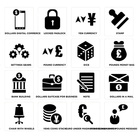Set Of 16 simple editable icons such as Businessman with pounds message in a speech bubble, Locked padlock, Yens coins stack on transparent background, pixel perfect Vettoriali