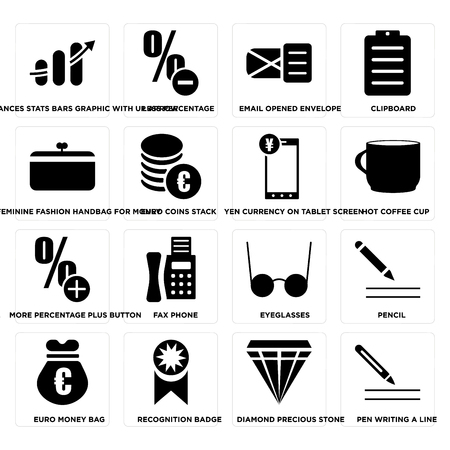 Set Of 16 simple editable icons such as Pen writing a line, Euro coins stack, Recognition badge, money bag, Pencil, Clipboard on transparent background, pixel perfect Vector Illustration
