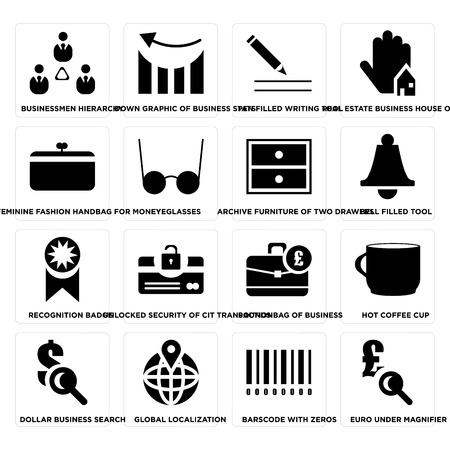 Set Of 16 simple editable icons such as Euro under magnifier, Barscode with zeros, Global localization, Eyeglasses on transparent background, pixel perfect