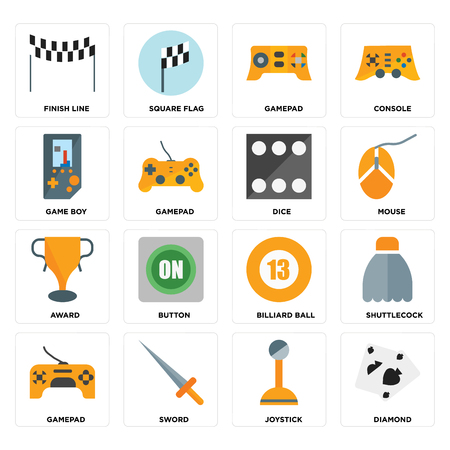 Set Of 16 icons such as Diamond, Joystick, Sword, Gamepad, Shuttlecock, Finish line, Game boy, Award, Dice on transparent background, pixel perfect