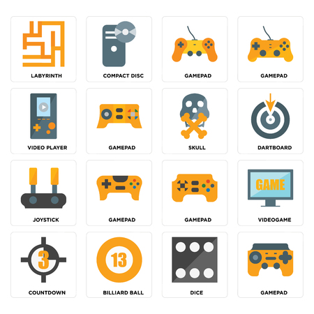 Set Of 16 icons such as Gamepad, Dice, Billiard ball, Countdown, Videogame, Labyrinth, Video player, Joystick, Skull on transparent background, pixel perfect 向量圖像