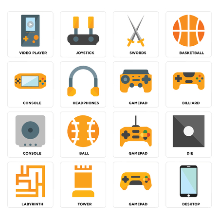 Set Of 16 icons such as Desktop, Gamepad, Tower, Labyrinth, Die, Video player, Console on transparent background, pixel perfect 向量圖像