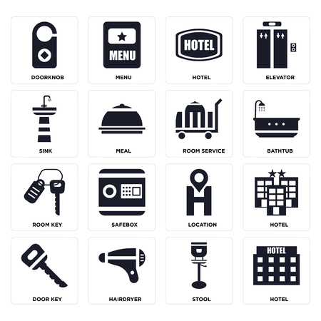 Set Of 16 icons such as Hotel, Stool, Hairdryer, Door key, Doorknob, Sink, Room service on transparent background, pixel perfect