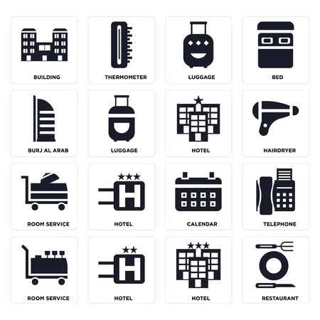 Set Of 16 icons such as Restaurant, Hotel, Room service, Telephone, Building, Burj al arab on transparent background, pixel perfect