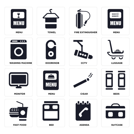 Set Of 16 icons such as Suitcase, Agenda, Bed, Fast food, Beds, Menu, Washing machine, Monitor, Cctv on transparent background, pixel perfect Vectores