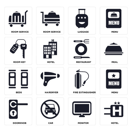 Set Of 16 icons such as Hotel, Monitor, Car, Doorknob, Menu, Room service, key, Beds, Restaurant on transparent background, pixel perfect