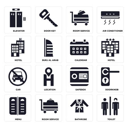 Set di 16 icone come servizi igienici, accappatoio, servizio in camera, menu, maniglia della porta, ascensore, hotel, auto, calendario su sfondo trasparente, pixel perfetto