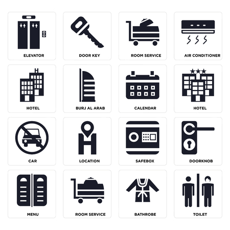 Set Of 16 icons such as Toilet, Bathrobe, Room service, Menu, Doorknob, Elevator, Hotel, Car, Calendar on transparent background, pixel perfect