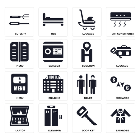 Set Of 16 icons such as Bathrobe, Door key, Elevator, Laptop, Exchange, Cutlery, Menu, Location on transparent background, pixel perfect