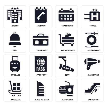 Set Of 16 icons such as Escalator, Fast food, Burj al arab, Luggage, Hairdryer, Hotel, Bell, Room service on transparent background, pixel perfect