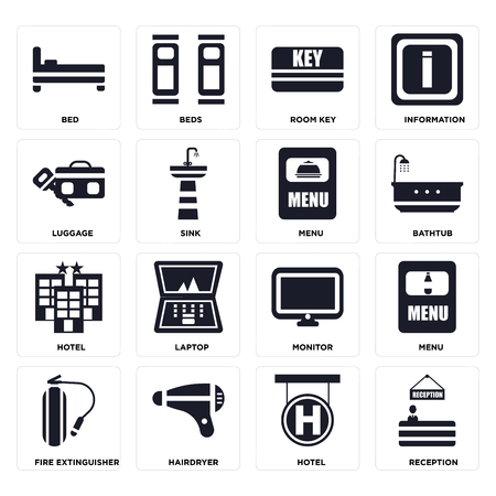 Set Of 16 icons such as Reception, Hotel, Hairdryer, Fire extinguisher, Menu, Bed, Luggage on transparent background, pixel perfect