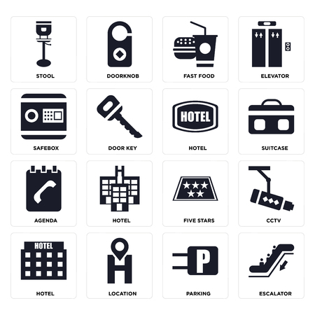 Set Of 16 icons such as Escalator, Parking, Location, Hotel, Cctv, Stool, Safebox, Agenda on transparent background, pixel perfect Illustration