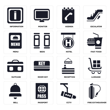 Set Of 16 icons such as Fire extinguisher, Cctv, Passport, Bell, Luggage, Information, Menu, Suitcase, Hotel on transparent background, pixel perfect Illusztráció