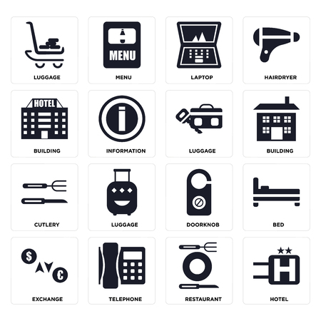 Set Of 16 icons such as Hotel, Restaurant, Telephone, Exchange, Bed, Luggage, Building, Cutlery on transparent background, pixel perfect