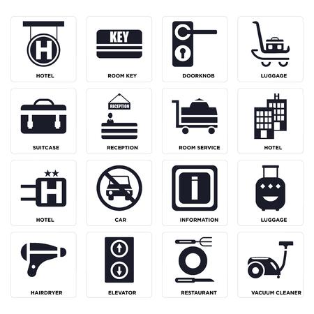 Set Of 16 icons such as Vacuum cleaner, Restaurant, Elevator, Hairdryer, Luggage, Hotel, Suitcase, Room service on transparent background, pixel perfect Ilustração Vetorial