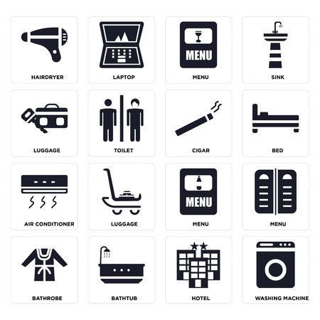 Set Of 16 icons such as Washing machine, Hotel, Bathtub, Bathrobe, Menu, Hairdryer, Luggage, Air conditioner, Cigar on transparent background, pixel perfect