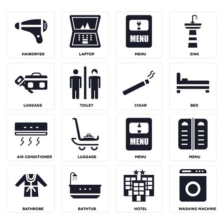Set Of 16 icons such as Washing machine, Hotel, Bathtub, Bathrobe, Menu, Hairdryer, Luggage, Air conditioner, Cigar on transparent background, pixel perfect