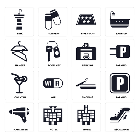 Set Of 16 icons such as Escalator, Hotel, Hairdryer, Parking, Sink, Hanger, Cocktail on transparent background, pixel perfect