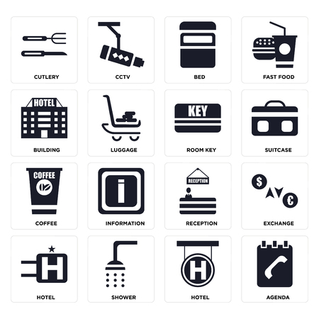 Set Of 16 icons such as Agenda, Hotel, Shower, Exchange, Cutlery, Building, Coffee, Room key on transparent background, pixel perfect