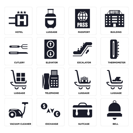 Set Of 16 icons such as Bell, Suitcase, Exchange, Vacuum cleaner, Luggage, Hotel, Cutlery, Escalator on transparent background, pixel perfect