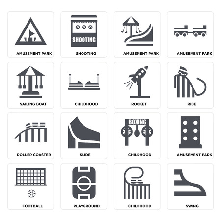 Set Of 16 icons such as Swing, Childhood, Playground, Football, Amusement park, Sailing boat, Roller coaster, Rocket on transparent background, pixel perfect