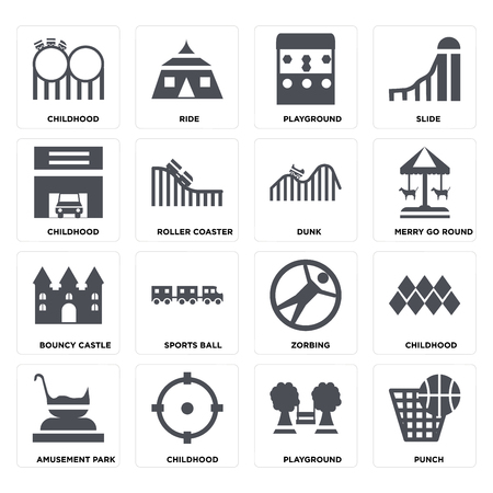 Set Of 16 icons such as Punch, Playground, Childhood, Amusement park, Bouncy castle, DUNK on transparent background, pixel perfect