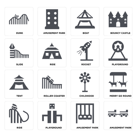 Set Of 16 icons such as Amusement park, Playground, Ride, Merry go round, DUNK, Slide, Tent, Rocket on transparent background, pixel perfect Illustration