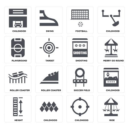 Set Of 16 icons such as Ride, Childhood, Height, Playground, Roller coaster, Shooting on transparent background, pixel perfect