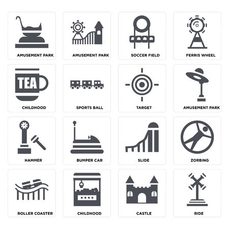 Set Of 16 icons such as Ride, Castle, Childhood, Roller coaster, Zorbing, Amusement park, Hammer, Target on transparent background, pixel perfect Stock Illustratie
