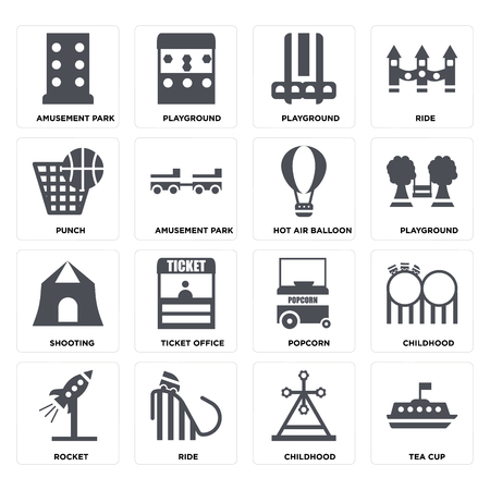 Set Of 16 icons such as Tea cup, Childhood, Ride, Rocket, Amusement park, Punch, Shooting, Hot air balloon on transparent background, pixel perfect