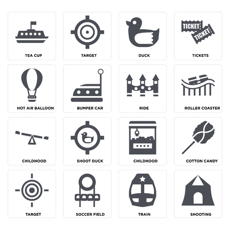 Set Of 16 icons such as Shooting, Train, Soccer field, Target, Cotton candy, Tea cup, Hot air balloon, Childhood, Ride on transparent background, pixel perfect