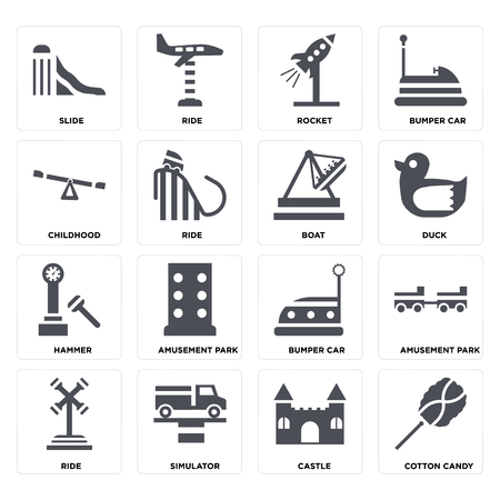 Set Of 16 icons such as Cotton candy, Castle, Simulator, Ride, Amusement park, Slide, Childhood, Hammer, Boat on transparent background, pixel perfect Illustration