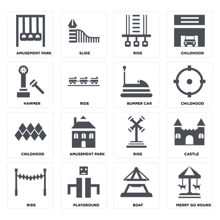 Set Of 16 icons such as Merry go round, Boat, Playground, Ride, Castle, Amusement park, Hammer, Childhood, Bumper car on transparent background, pixel perfect