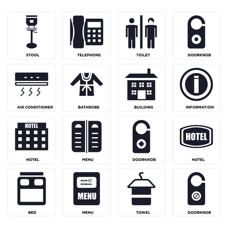 Set Of 16 icons such as Doorknob, Towel, Menu, Bed, Hotel, Stool, Air conditioner, Building on transparent background, pixel perfect