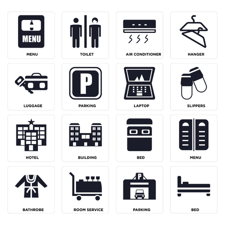Set Of 16 icons such as Bed, Parking, Room service, Bathrobe, Menu, Luggage, Hotel, Laptop on transparent background, pixel perfect Illustration
