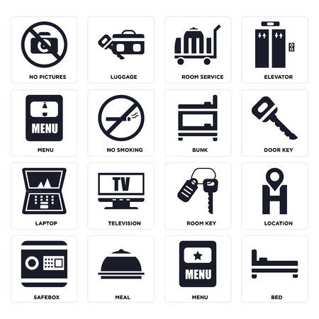 Set Of 16 icons such as Bed, Menu, Meal, Safebox, Location, No pictures, Laptop, Bunk on transparent background, pixel perfect Illustration