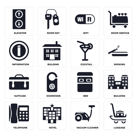 Set Of 16 icons such as Luggage, Vacuum cleaner, Hotel, Telephone, Building, Elevator, Information, Suitcase, Cocktail on transparent background, pixel perfect