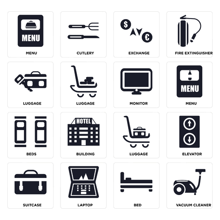 Set Of 16 icons such as Vacuum cleaner, Bed, Laptop, Suitcase, Elevator, Menu, Luggage, Beds, Monitor on transparent background, pixel perfect