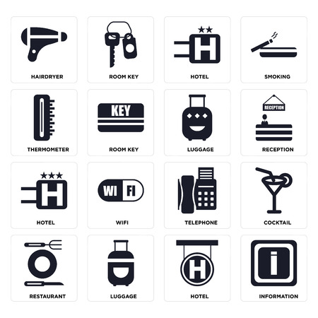 Set Of 16 icons such as Information, Hotel, Luggage, Restaurant, Cocktail, Hairdryer, Thermometer on transparent background, pixel perfect