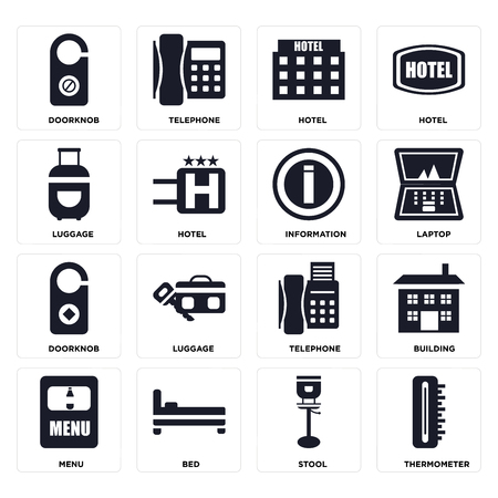Set Of 16 icons such as Thermometer, Stool, Bed, Menu, Building, Doorknob, Luggage, Information on transparent background, pixel perfect 矢量图像