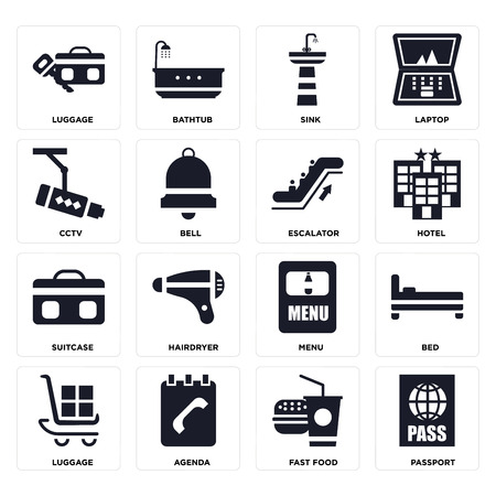 Set Of 16 icons such as Passport, Fast food, Agenda, Luggage, Bed, Cctv, Suitcase, Escalator on transparent background, pixel perfect